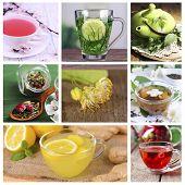 Collage of tasty tea