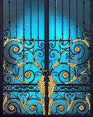 Vintage Door With Classic Alloy Decoration