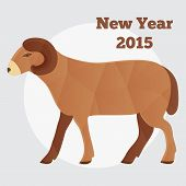 New Year of the Goat or Sheep 2015, polygonal geometric vector.