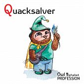 Alphabet professions Owl Letter Q - Quacksalver character Vector Watercolor.