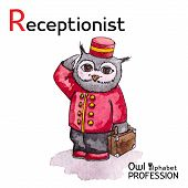 Alphabet professions Owl Letter R - Receptionist character Vector Watercolor.
