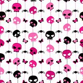 girlish aggressive style seamless pattern withe black and red skulls