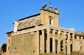 the Temple of Antoninus and Faustina in the Roman Forum in Rome, Italy, converted to a catholic church, San Lorenzo in Miranda