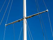 Detail Shot Of Sailing Boat Poles (mainmast Or Sprit) In Marina.