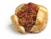 Jacket potato with chilli con carne filling.
