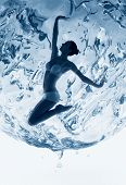 Healthy Woman Inside Of Blue Water Sphere