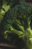Delicious broccoli on a wooden table