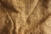 Hemp cloth with wrinkles and shadows.