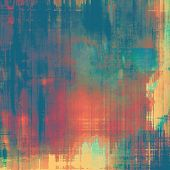 Abstract composition on textured, vintage background with grunge stains. With brown, red, orange, blue patterns