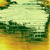 Abstract composition on textured, vintage background with grunge stains. With yellow, brown, orange, green patterns