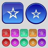 Star sign icon. Favorite button. Navigation symbol.Set colourful buttons. Vector