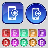 Mobile devices sign icon. with symbol plus. Map pointers information buttons Speech bubbles icons Ve