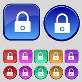 Lock sign icon. Locker symbol. Set colur buttons. Vector