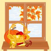 Window With Fruits Autumn Theme Thanksgiving Day Vector
