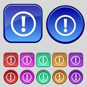 Attention sign icon. Exclamation mark. Hazard warning symbol. Set colour buttons Vector