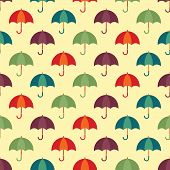 Vintage Seamless Pattern With Colorful Umbrellas