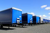 Row Of Trailers On A Yard