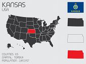 Set Of Infographic Elements For The State Of Kansas