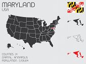Set Of Infographic Elements For The State Of Maryland
