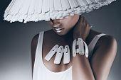 Elegant Woman In White Hat