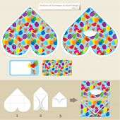 Template And Scheme Of Envelope In Heart Shape. Pattern With Teddy Bears And Balloons. Elements For