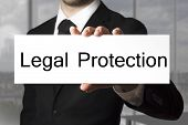 image of law order  - businessman in black suit office showing sign legal protection - JPG