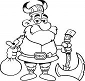 Cartoon Viking Holding an Axe
