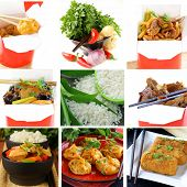 image of chinese menu  - Set menu of Chinese food and ingredients - JPG