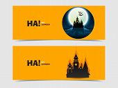 pic of yellow castle  - Set of two vector banners with castle cut out of paper - JPG