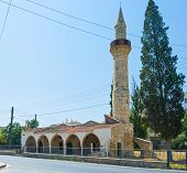 stock photo of larnaca  - The old mosque with the stone minaret in Larnaca Cyprus - JPG