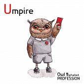 stock photo of umpire  - Alphabet professions Owl Letter U  - JPG