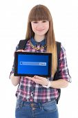 Teenage Girl Holding Tablet Pc With Search Bar On Screen Isolated On White