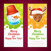 foto of rudolf  - Merry christmas vertical banners with deer and snowman isolated vector illustration - JPG