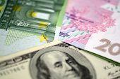 Dollars Euro And Hryvnia Banknotes