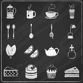 Tea icons set chalkboard