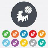 Volleyball fireball icon. Beach sport symbol.