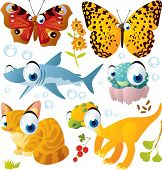 Animal set: butterfly, shark, jellyfish, cat, dinosaur