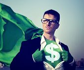 Strong Superhero Businessman Currency Sign Concepts