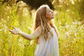 picture of beatitudes  - Happy blonde girl in a dress of wildflowers - JPG