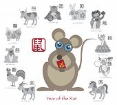 pic of oxen  - Chinese New Year of the Rat Color with Twelve Zodiacs with Chinese Symbol for Rat Ox Tiger Dragon Rabbit Snake Monkey Horse Goat Rooster Dog Pig Text in Circle Grayscale Vector Illustration - JPG
