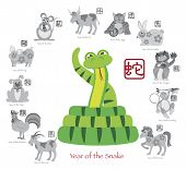 stock photo of grayscale  - Chinese New Year of the Snake Color with Twelve Zodiacs with Chinese Text Seal in Circle Grayscale Vector Illustration - JPG