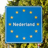 Dutch Road Sign At The Border