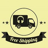 Free Shipping Illustration Over Yellow Color Background