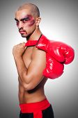 stock photo of hematoma  - Badly beaten boxer isolated on white - JPG