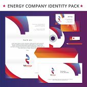 Abstract energy identity pack vector concept. Logo, visit cards, cd, letter, usb flash drive, folder and other id blanks. Good for company branding set.