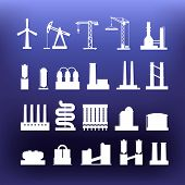 White industrial icons clip-art on color background. Design  elements