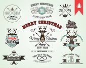 2015 Christmas decoration set of calligraphic and typographic design elements included tree, animal, ribbons and so on