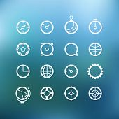 White circle icons clip-art on color background. Design elements