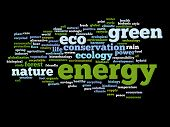Concept or conceptual abstract green energy and ecology and conservation word cloud text on black background
