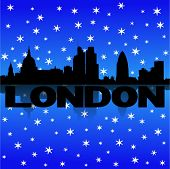 London skyline reflected with snow vector illustration